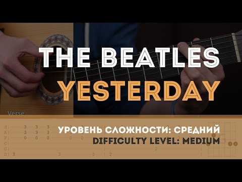 Как играть на гитаре The Beatles - Yesterday (Guitar tutorial)